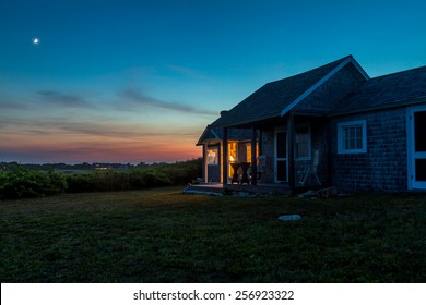 Sunset at New England cottage