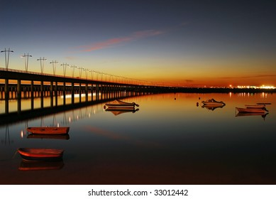 Sunset next to the bridge (spain)