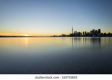 Sunset next to downtown Toronto during early winter time