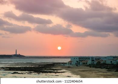 Sunset next to Trafalgar cape, in Cadiz, Spain