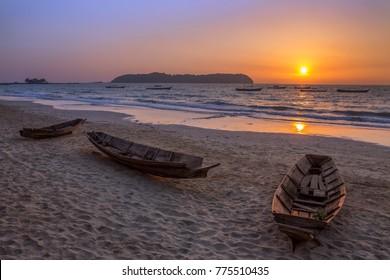 Sunset at Ngapali Beach in Rakhine State in Myanmar (Burma).