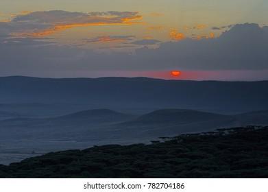 Sunset in Ngorongoro Reserve
