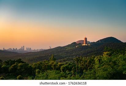 Sunset of Niushou mountain in Nanjing