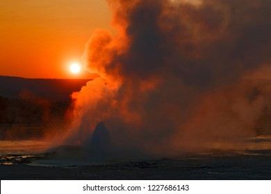 Sunset at Norris Geyser, Yellowstone National Park, Wyoming