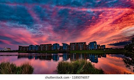 Sunset at North Dock Llanelli, Carmarthenshire, south Wales UK.
