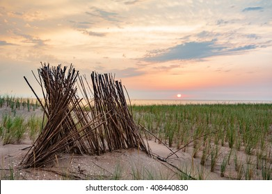 Sunset at the North Sea in the Dunes of North-Holland The Netherlands) seen from a Dike.