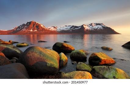 Sunset in Norwegian coast,Senja
