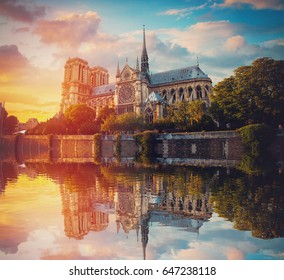 sunset Notre Dame de Paris. France. Europe