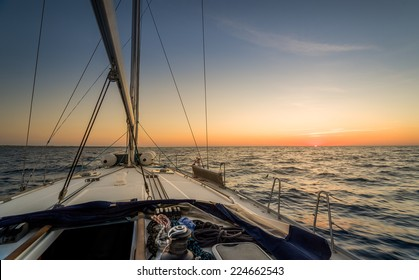 Sunset observation from the sailing boat deck