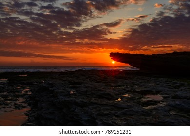 sunset in the ocean in a beach in Portugal, texture pathern background