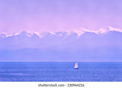 Sunset in ocean with boat and mountains background. Stylized as painting.