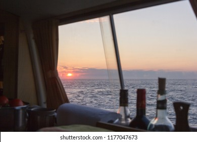 Sunset at the ocean from the campervan