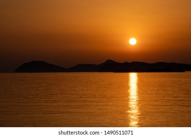 Sunset from ocean, Dubrovnik, Croatia