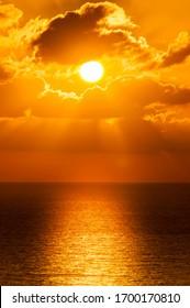 sunset in the ocean Maldives ocean  2020