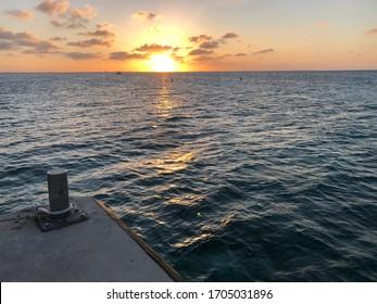 Sunset off a Cayman Pier