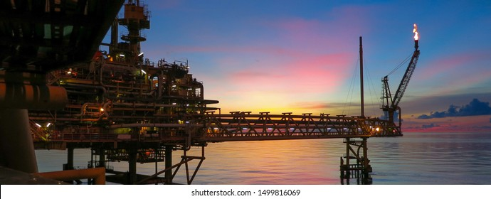 Sunset from an offshore platform