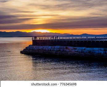 Sunset at the Ogden Point breakwater, Victoria BC