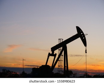 sunset in the oil fields