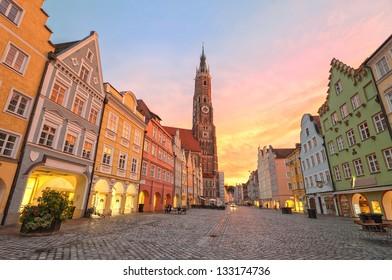 Sunset in an old gothic german town Landshut by Munich, Bavaria