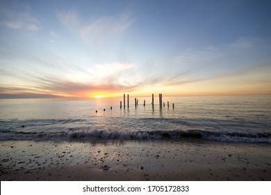 Sunset at the old jetty ruins Port Willunga, South Australia