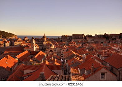 Sunset in Old Town. Dubrovnik, Croatia