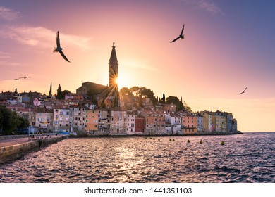 Sunset in the old town of Rovinj, Croatia