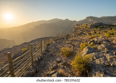 Sunset Omani Mountains at Jabal Akhdar in Al Hajar Mountains, Oman at sunset. This place is 2000 meters above sea level.