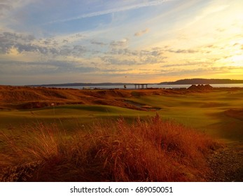 Sunset on the 18th Hole at Chambers Bay Golf Course, Pierce County Park