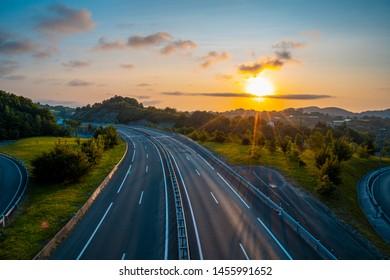 Sunset on the a-8 Errenteria highway, ends the day in errenteria. Gipuzkoa
