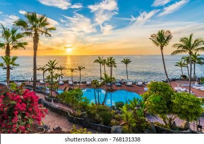 Sunset on the Adeje coast, Tenerife, Spain