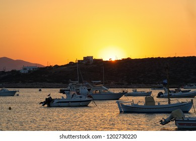 Sunset on the Aliki bay and beach - Cyclades island - Paros - Greece