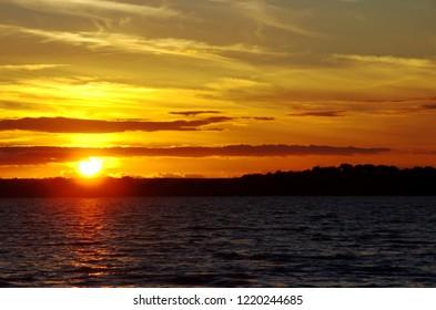 sunset on the alqueva lake, Alentejo, Portugal