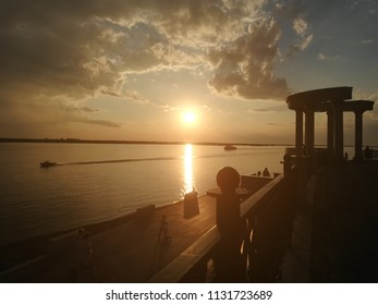 Sunset on the Amur River, Khabarovsk, Russia