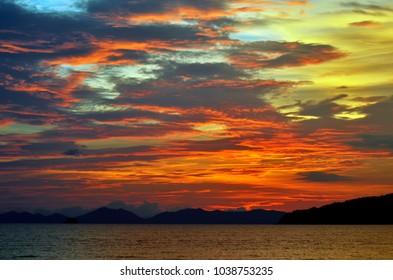 Sunset on the Ao Nang bay, Krabi province, Thailand