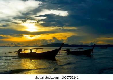 Sunset on the Ao Nang bay, Krabi province, Thailand