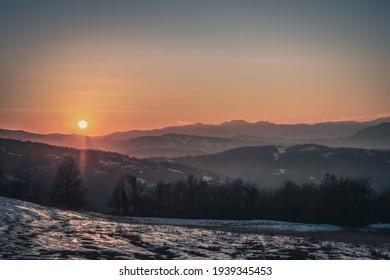 Sunset on the Appenine mountain ridge in Emilia and Romagna. Bologna province, Emilia-Romagna, Italy.