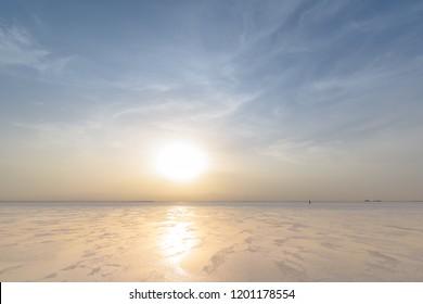Sunset on the Ass Ale Lake, Danakil depression