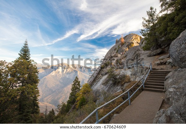 Sunset on an autumn evening at Moro Rock in Sequoia National Park, California, USA