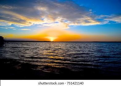 Sunset on Avalon Lake, New              Sunset at Lake Avelon, Carlsbad, New Mexico