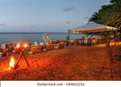 Sunset on Bamboo Beach (formely known as Reggae Beach) near Ocho Rios, Jamaica