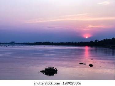 Sunset on bangprakong river in thailand