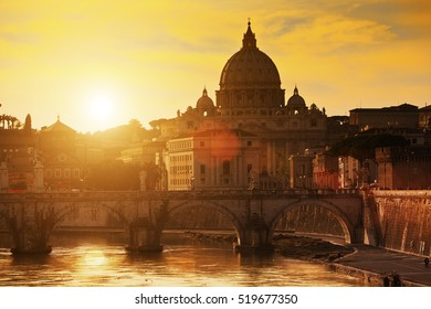 Sunset on the Basilica St Peter in Rome, Italy