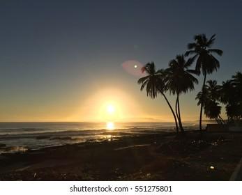 Sunset up on the beach