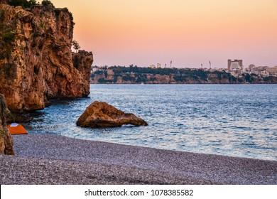 Sunset on the beach in Antalya, Turkey