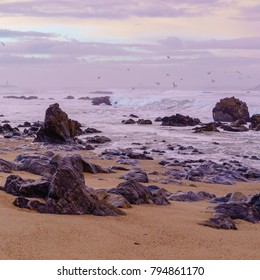 sunset on  beach of Atlantic ocean