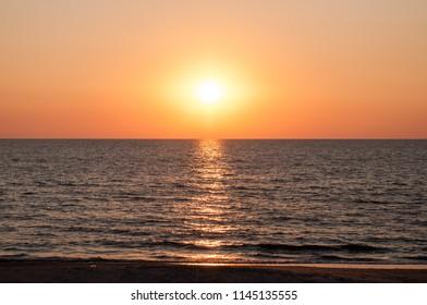 Sunset on the beach. Baltic Sea.