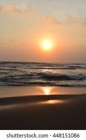 Sunset on the beach at beautiful sunset