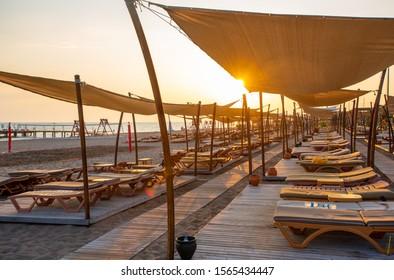 Sunset on the beach in Belek, Antalya, Turkey.