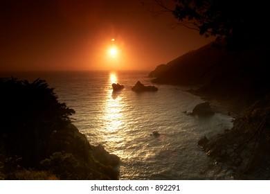 Sunset on the beach Big Sur California