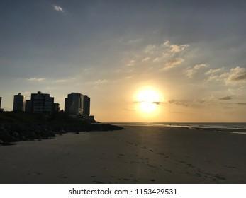 Sunset on beach in São Luís, Maranhão, Brazil